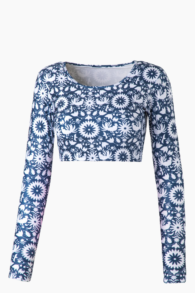Camaguey Long Sleeve Crop Bikini Top - Blue Otomi Print