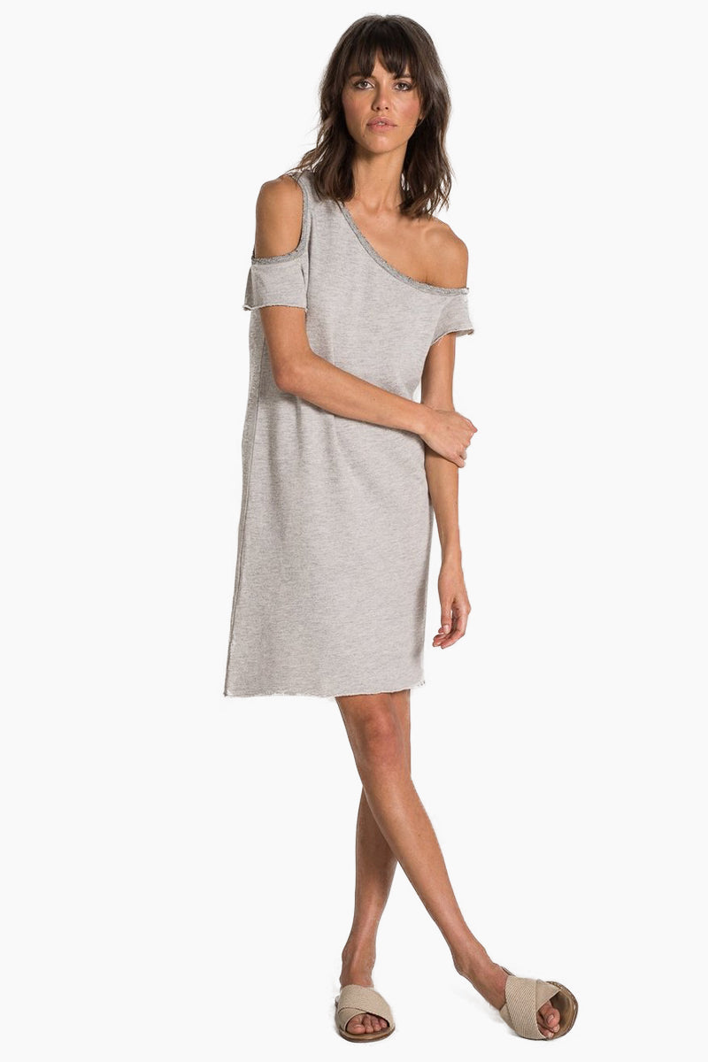 Camino Off Shoulder Mini Dress - Heather Grey