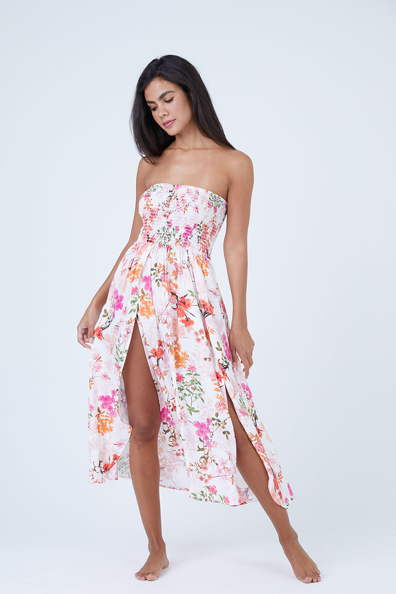 Capri Strapless Midi Dress - Summertime Blooms Floral Print