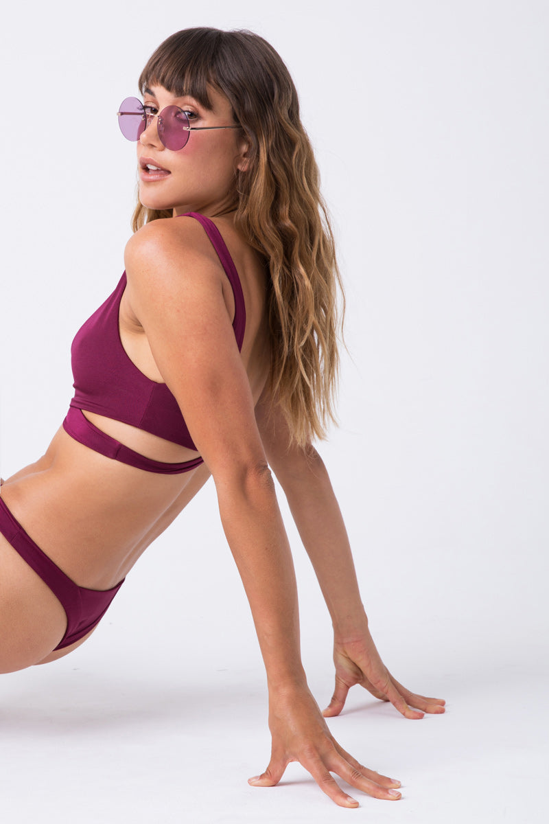 Captain Wrap Bikini Top - Berry Red