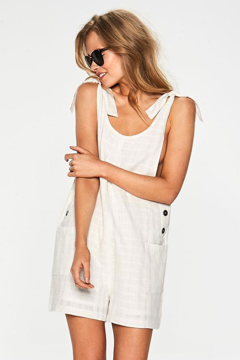 Carina Shoulder Ties Romper - Ivory White