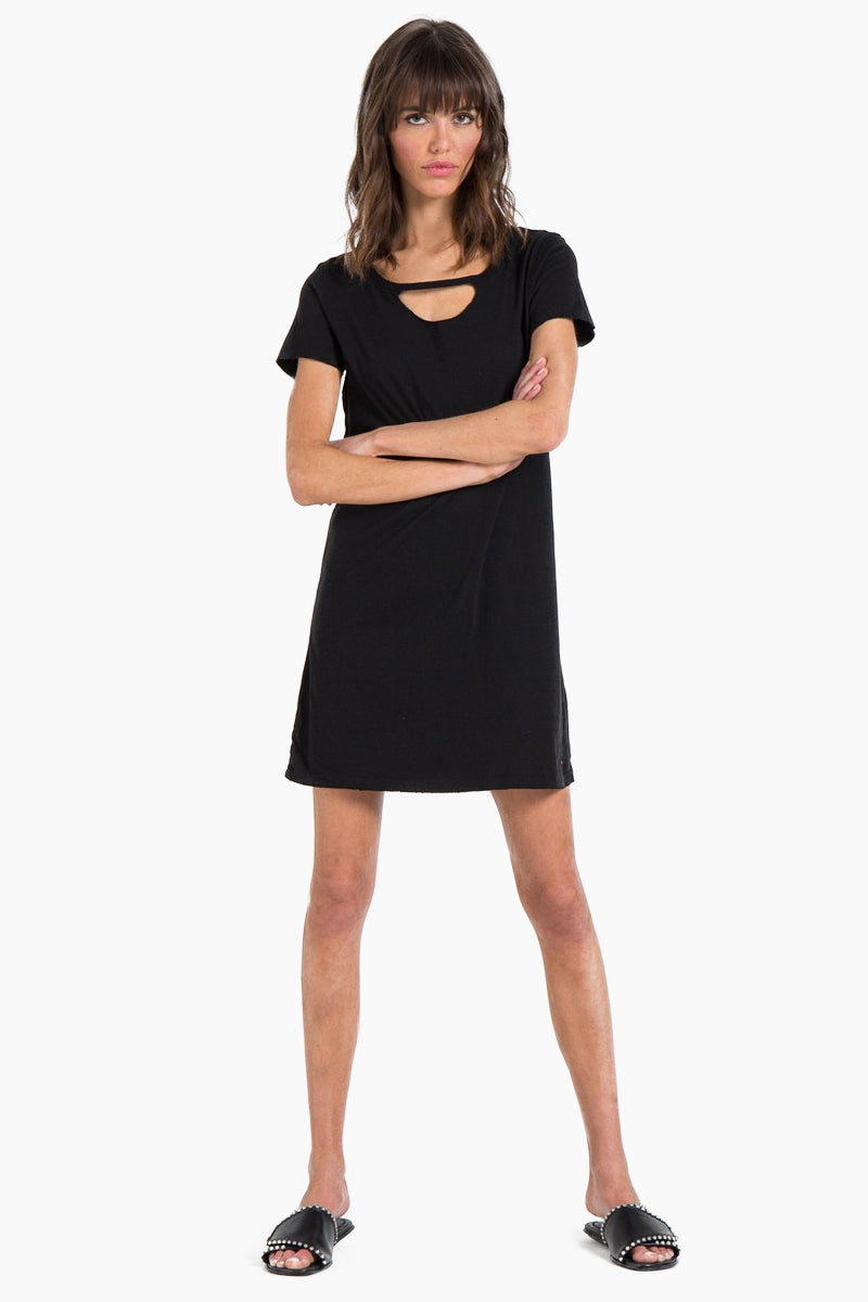 Carlita T Shirt Mini Dress - Black Cat