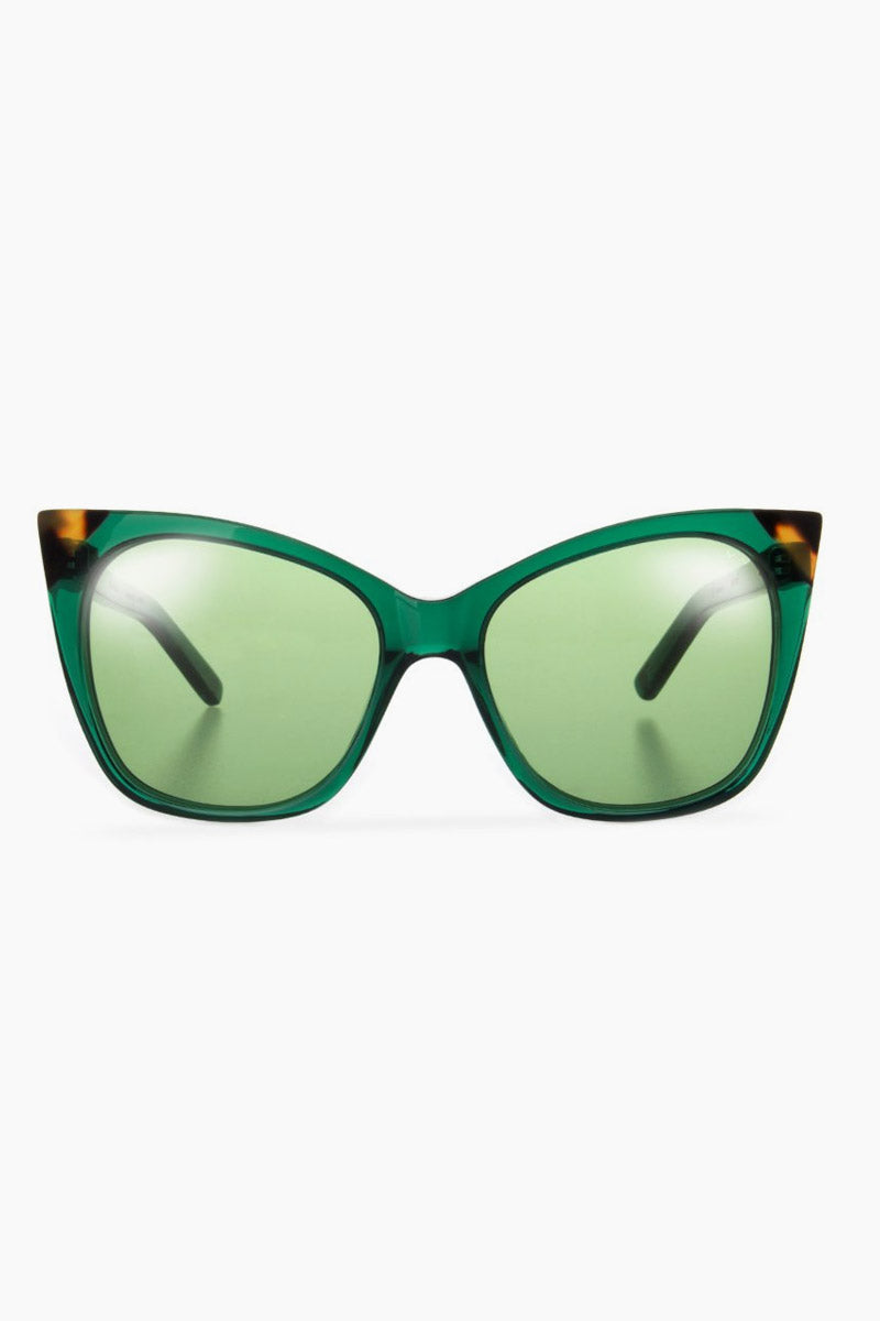 Cat & Mouse Sunglasses - Emerald/Dark Tortoise/Green Lenses
