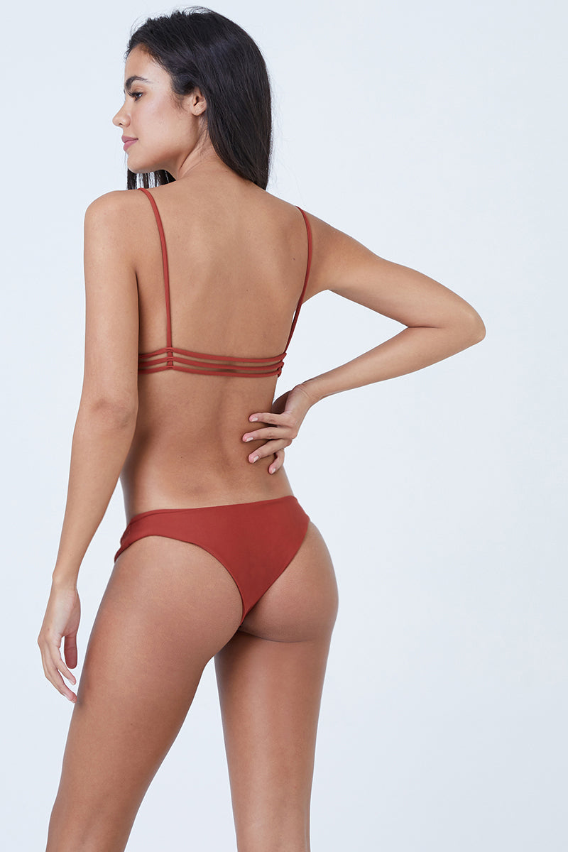 Ocean Hipster Cheeky Bikini Bottom - Canyon Red