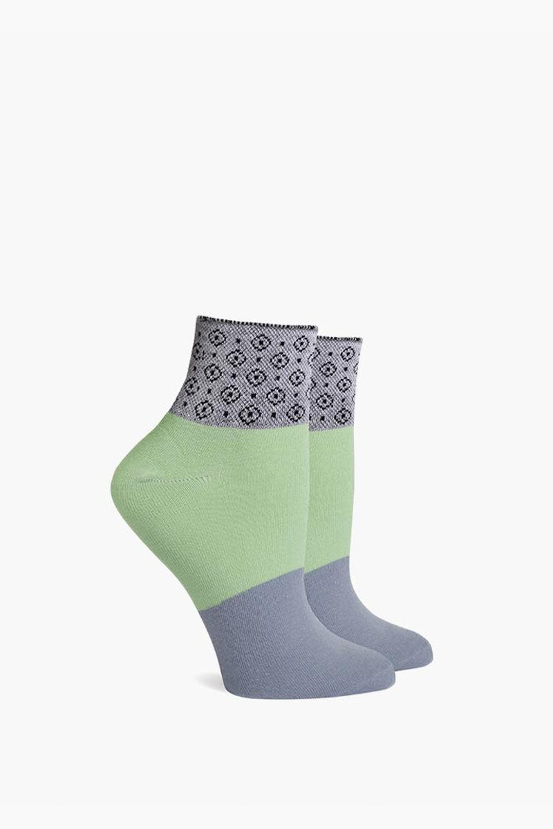 Celina Elastic Color Block Ankle Socks - Mint Green & Grey
