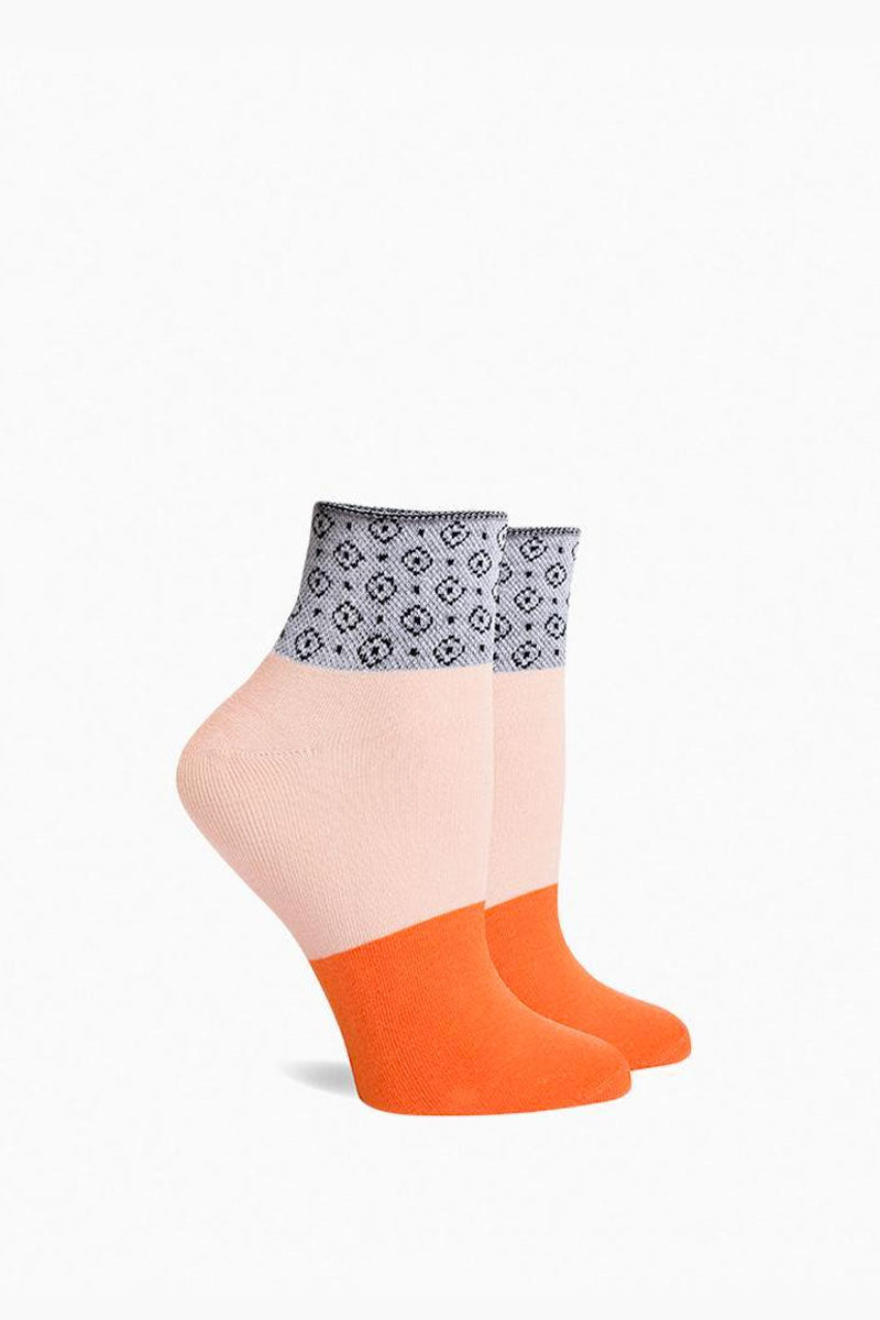Celina Elastic Color Block Ankle Socks - Light Pink/Orange/Grey