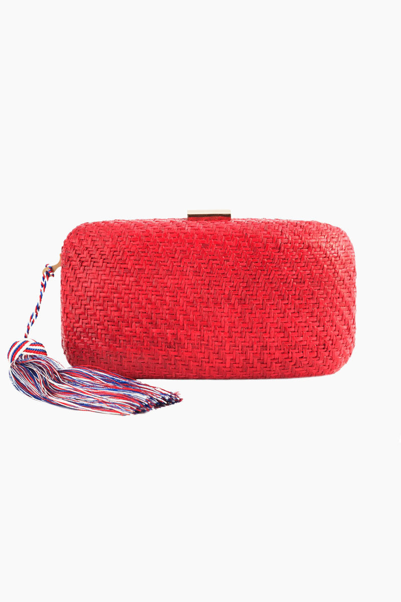 Charlotte Silk Tassel Straw Clutch - Red