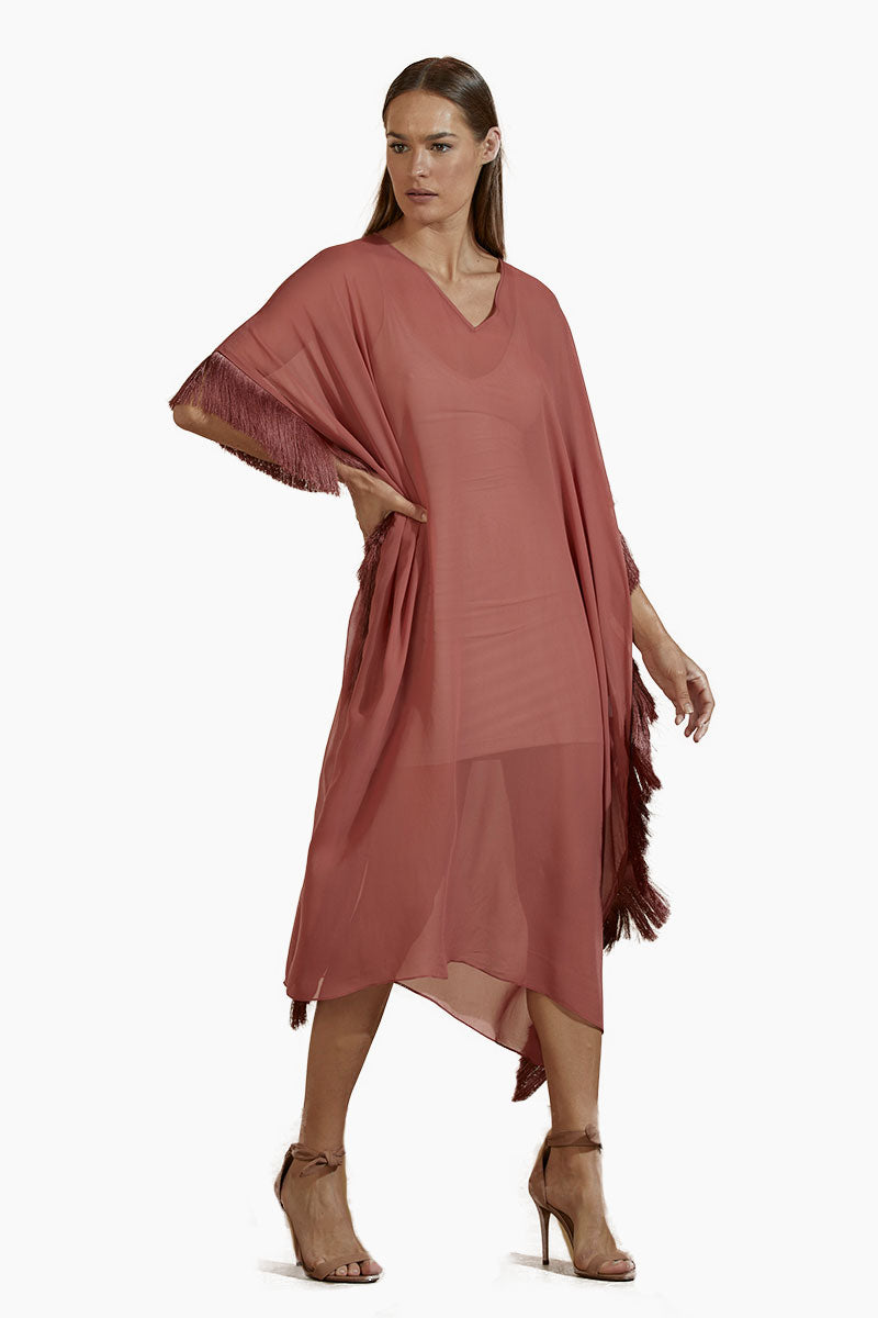 Chiffon Kaftan - Terracotta Red