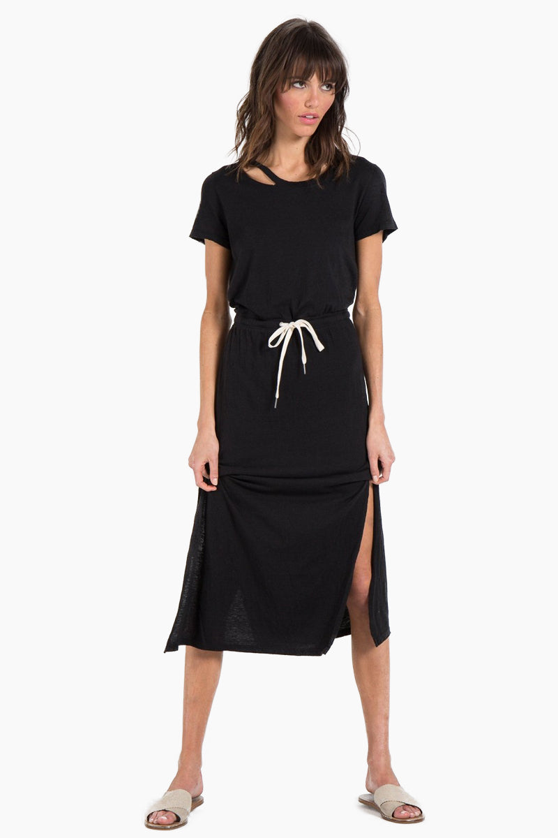 Clearwater Short Sleeve Drawstring Midi Dress - Black Cat