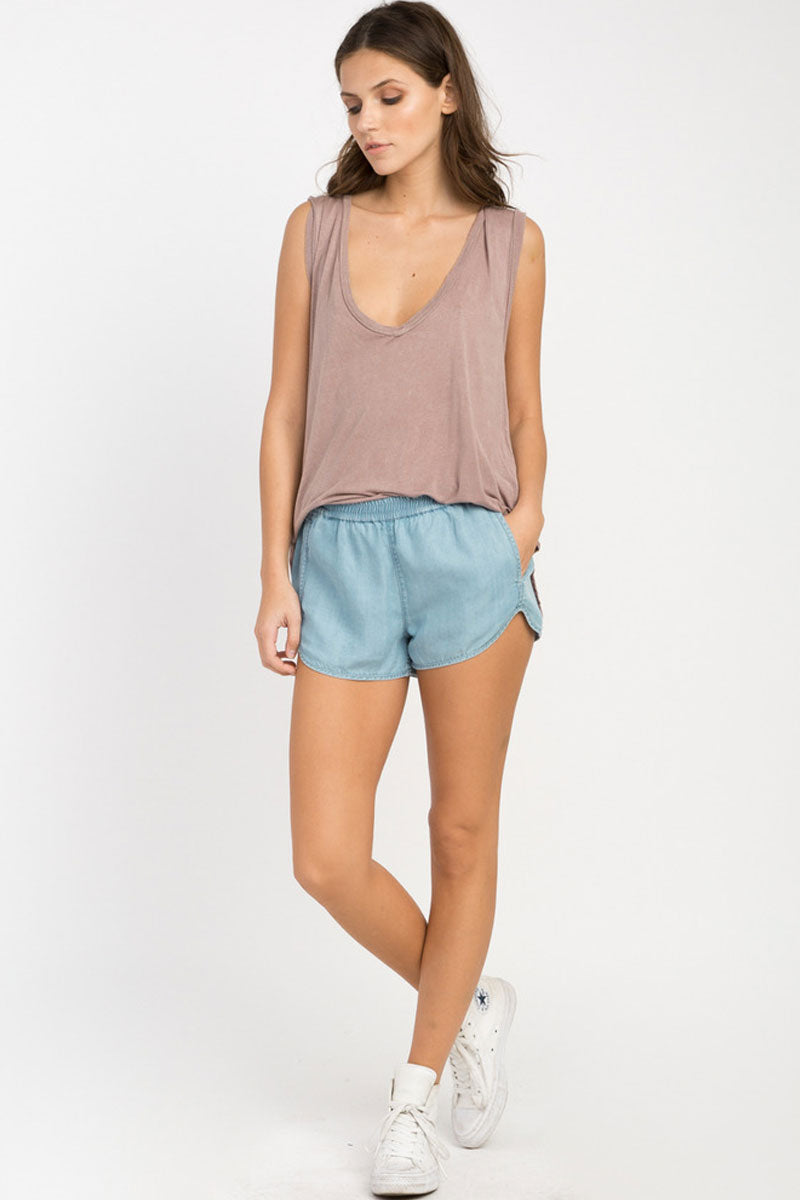 Coastal Elastic Shorts - Chambray Blue