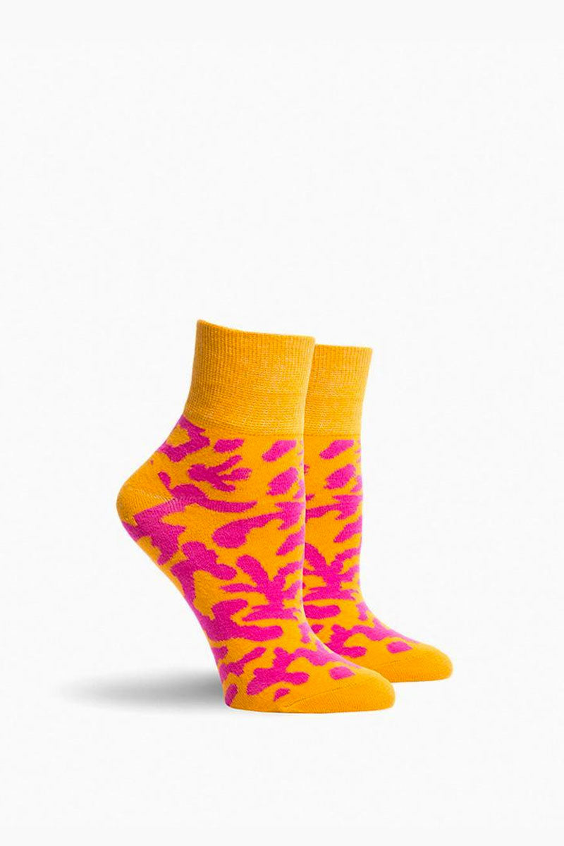 Will Bryant Socks - Orange & Hot Pink Animal Print
