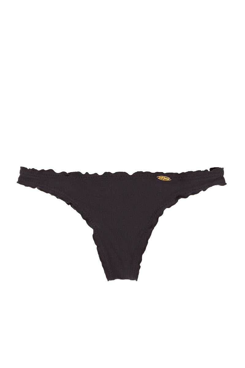 LULI FAMA Drawstring Scrunch Bottom Bikini Bottom | Black|