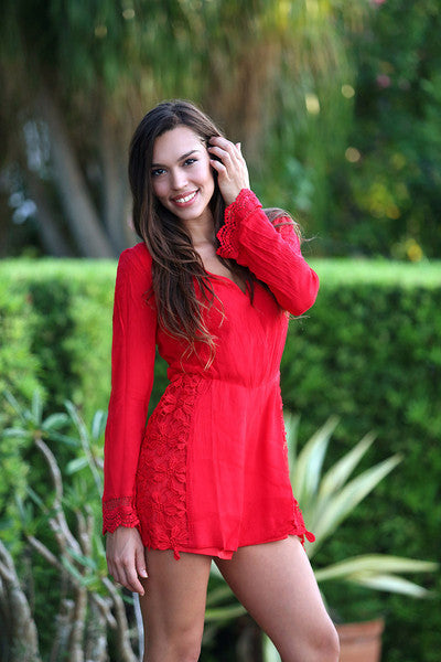 BIKINI.COM Lace Romper Cover Up | Red|Adrianne
