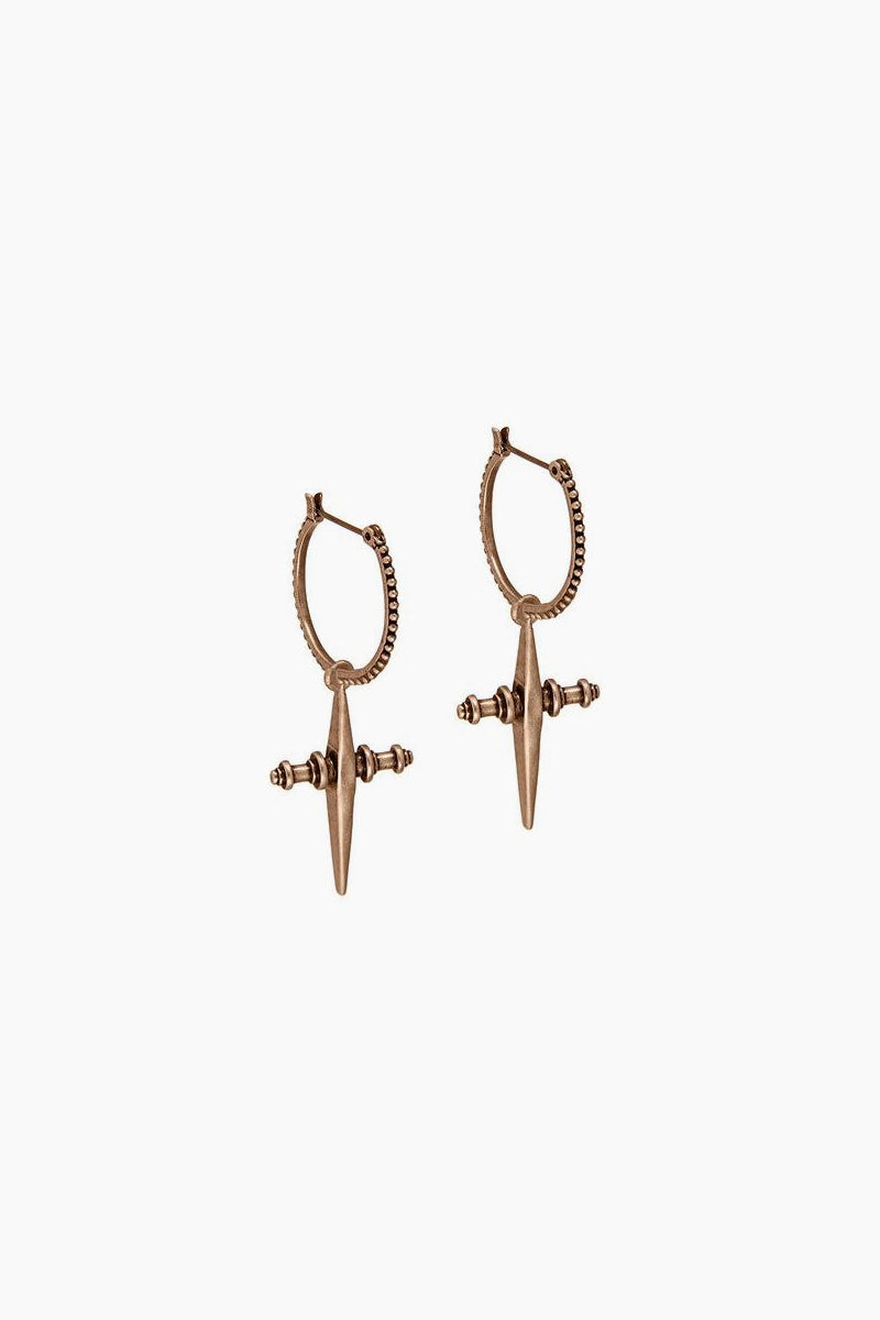 Cross Dangle Hoop Earrings - Rose Gold