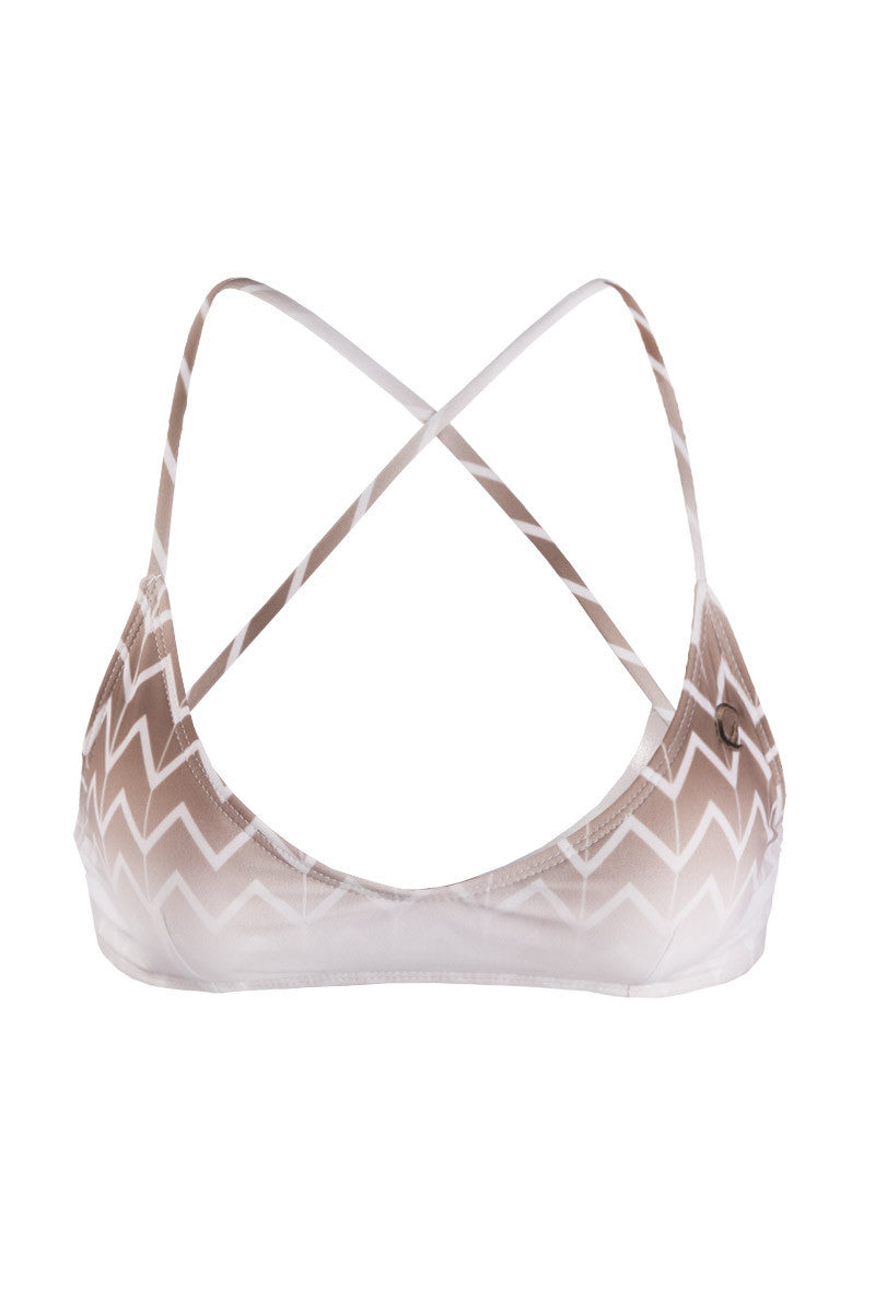 Swell Criss Cross Back Bralette Bikini Top - Driftwood Brown Chevron Print