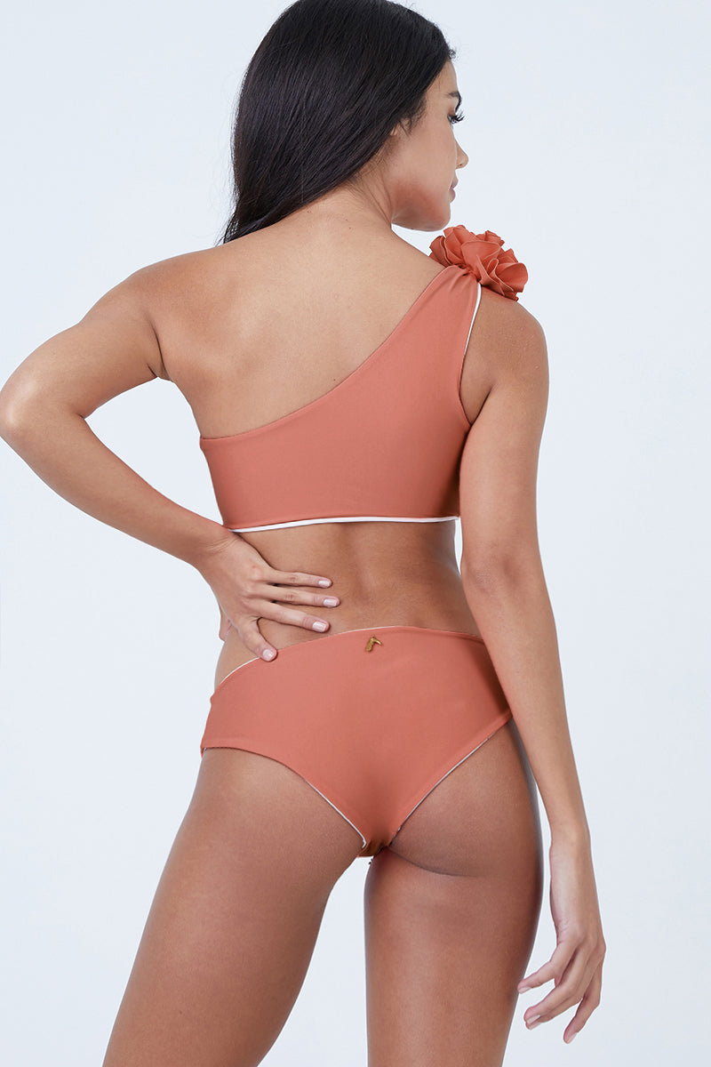 Currulao Hipster Reversible Bikini Bottom - Coral/Ivory