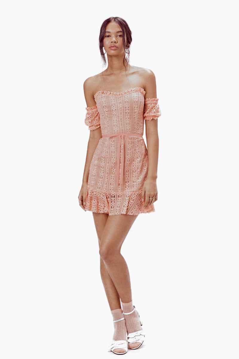 Dakota Off Shoulder Lace Mini Dress - Peachy Pink