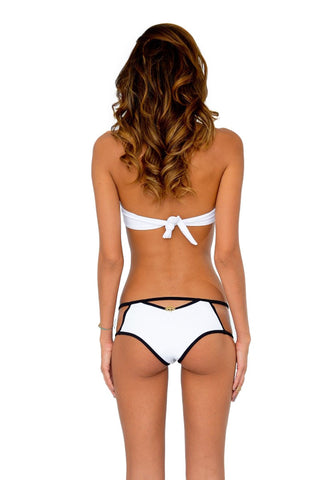 DEL MAR BY BERJHENY Cut-Out Bottom Bikini Bottom | White & Black|