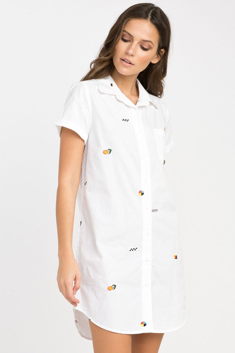 Ditz Embroidered Shirt Dress - White