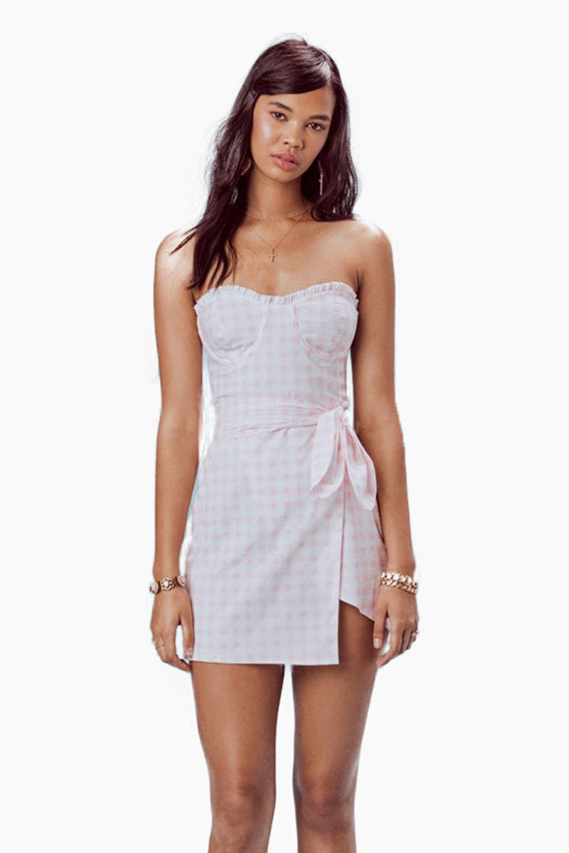 Dixie Underwire Corset Mini Dress - Pink & White Gingham Print