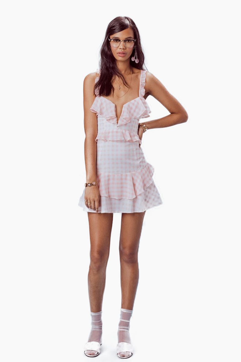 Dixie Ruffled Lace Up Mini Dress - Pink & White Gingham Print