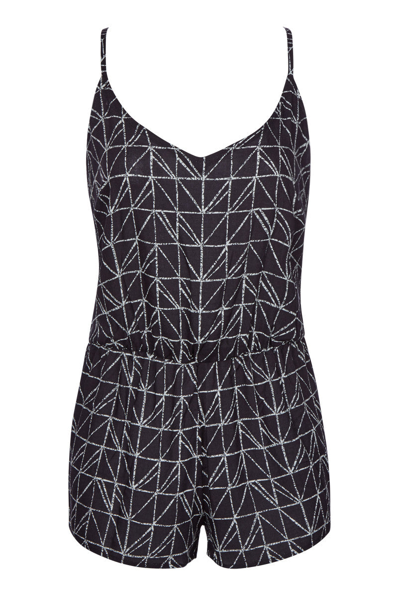 Beaded Scoop Neck Strappy Back Romper - Rough & Tumble Black Geometric Print
