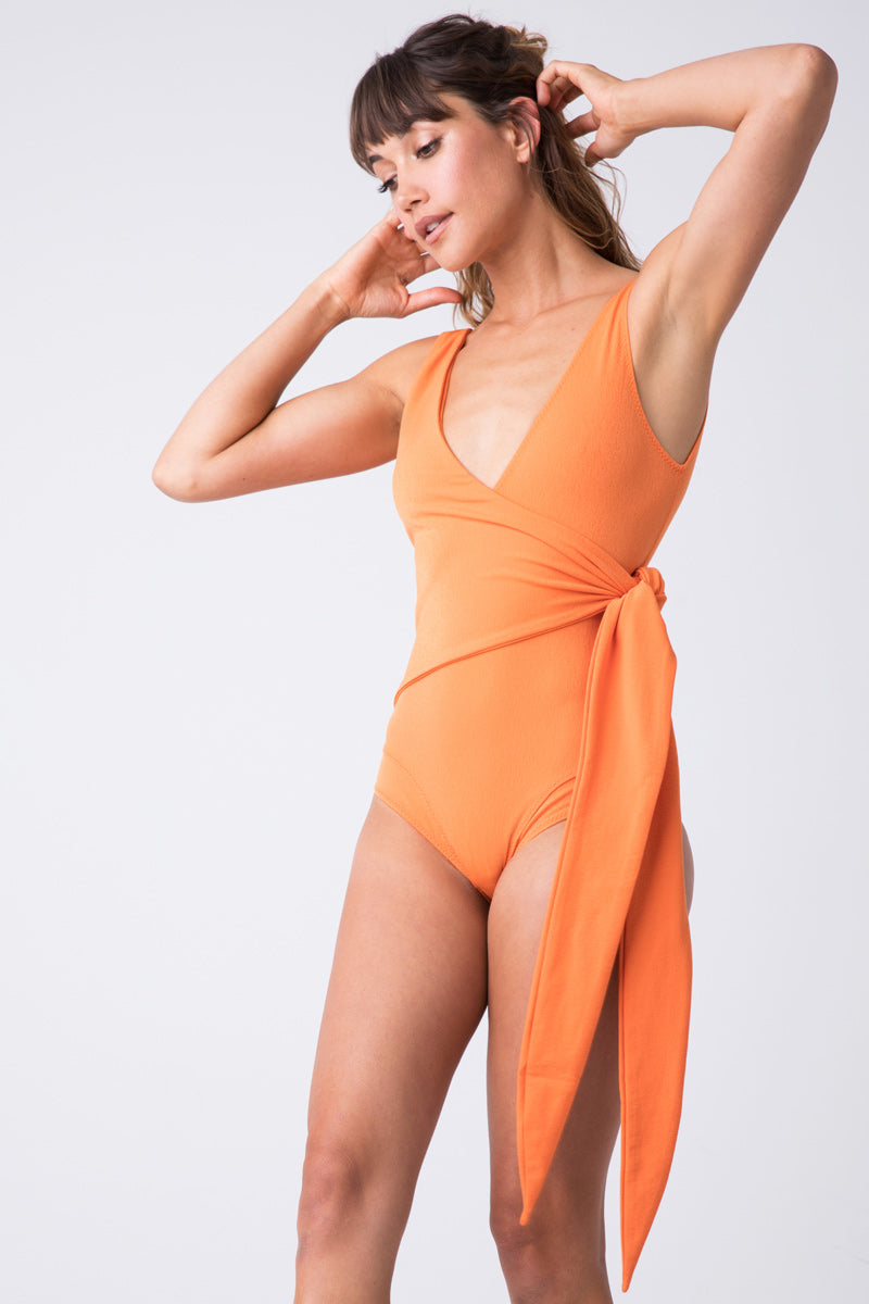 Dree Louise Wrap One Piece Swimsuit - Orange