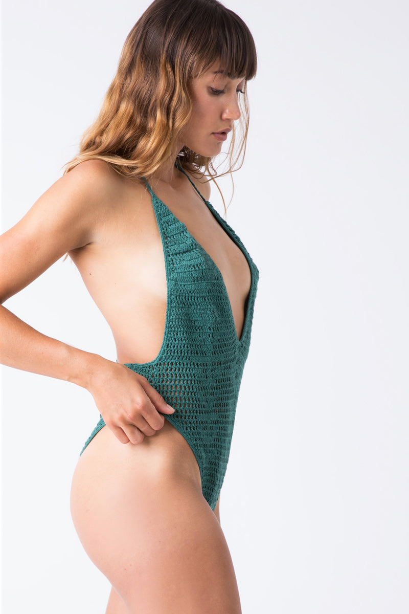 add26486e22a INDAH Drew Crochet Halter High Cut One Piece Swimsuit - Neptune Green -  undefined undefined ...