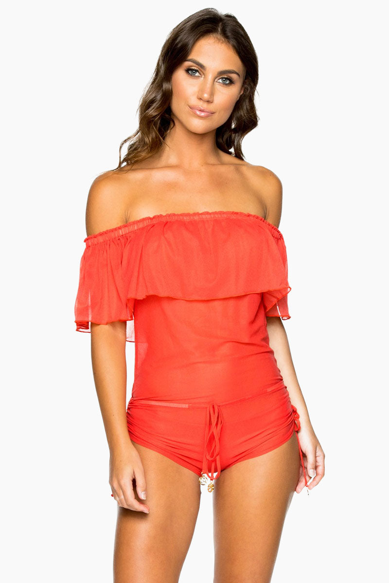 Drifter Off The Shoulder Flounce Romper - Girl On Fire Red