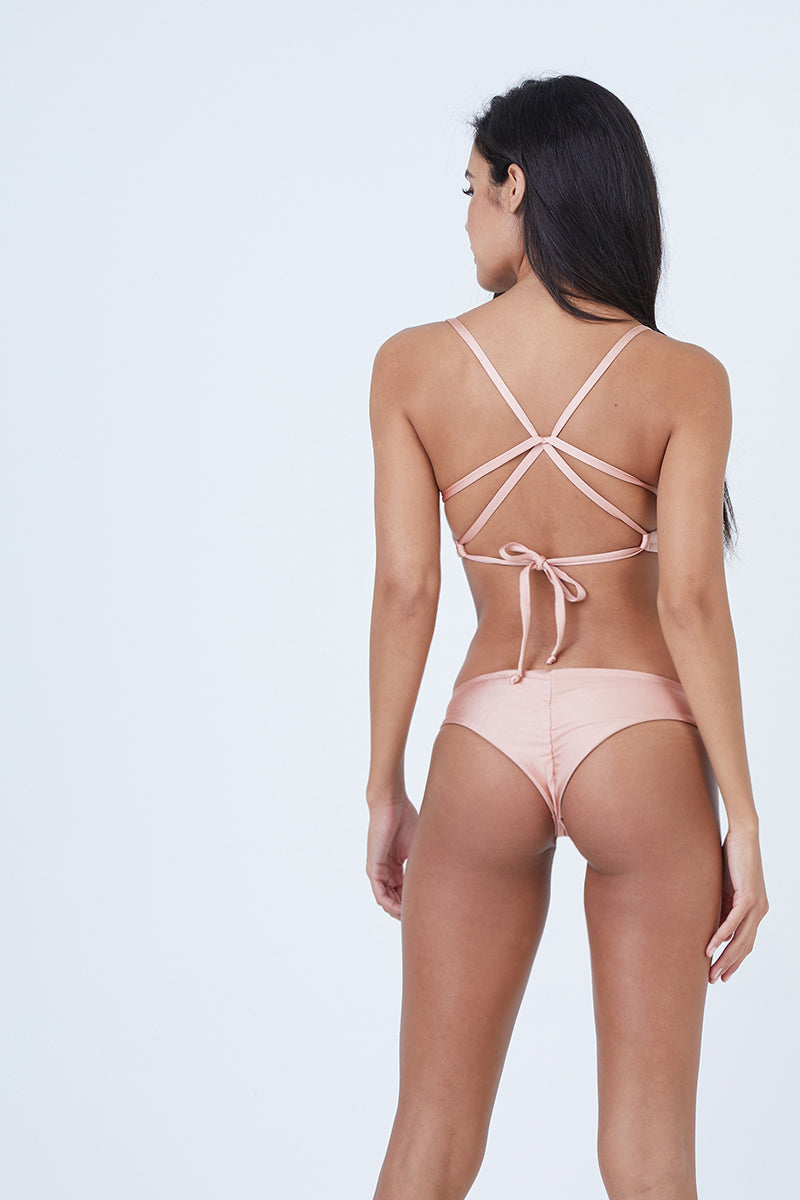 Clairee Cheeky Ruched Bikini Bottom - Blush Pink & Bashful