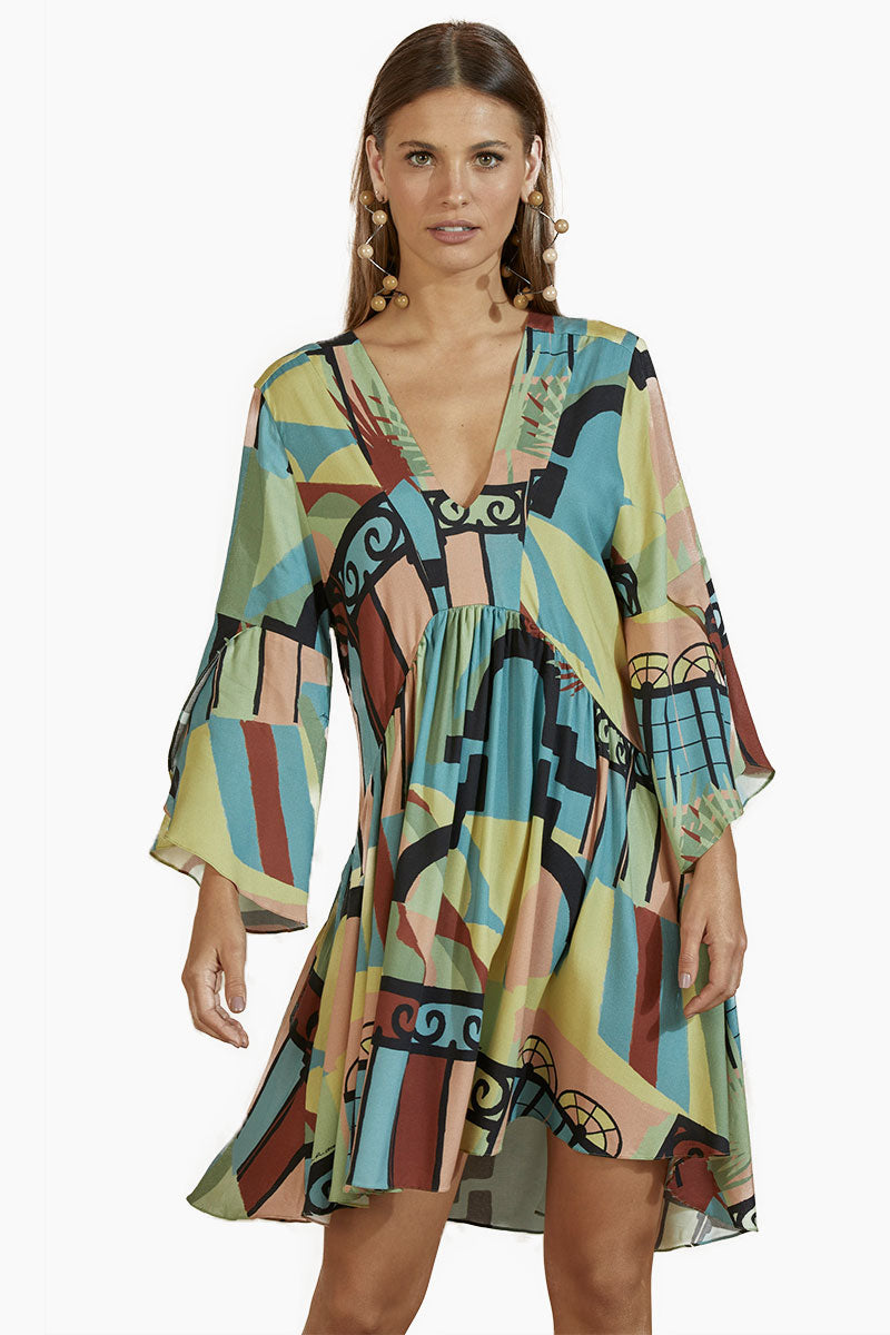 Crepe Tunic Dress - Neoclassical Abstract Print