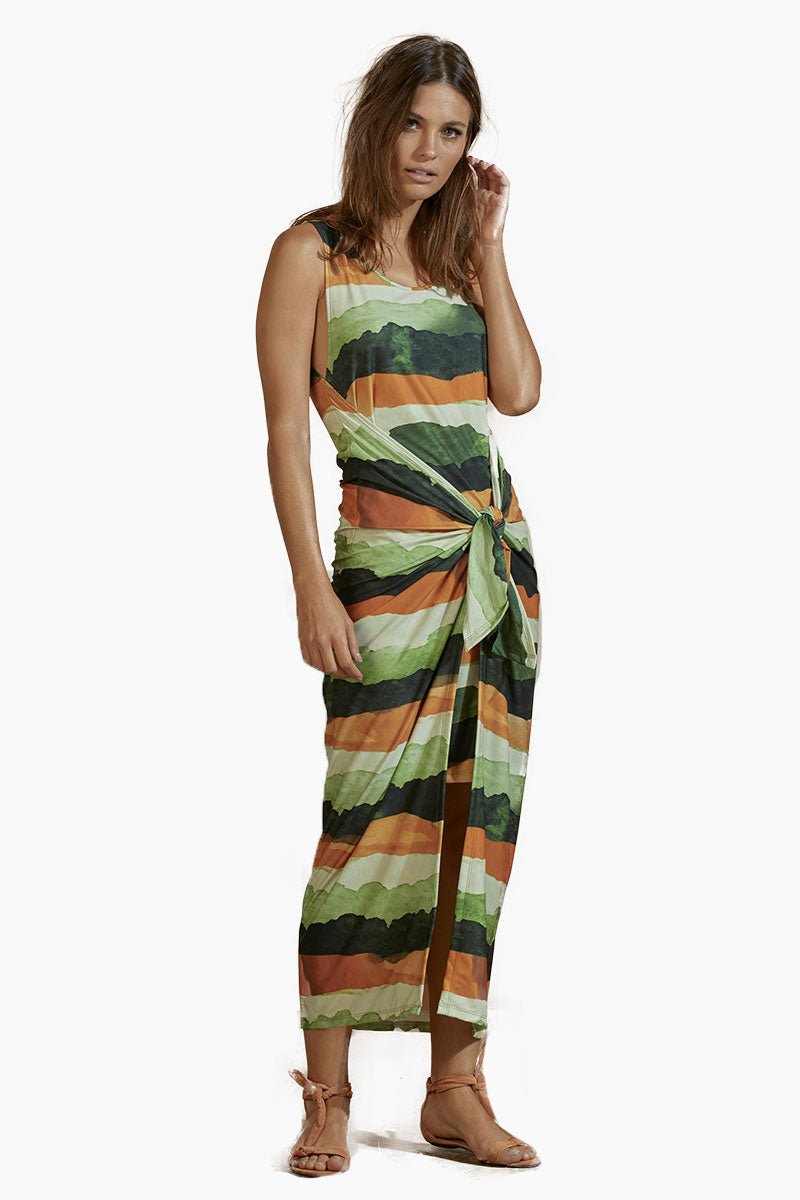 Jersey Long Dress - Safari Stripe Print