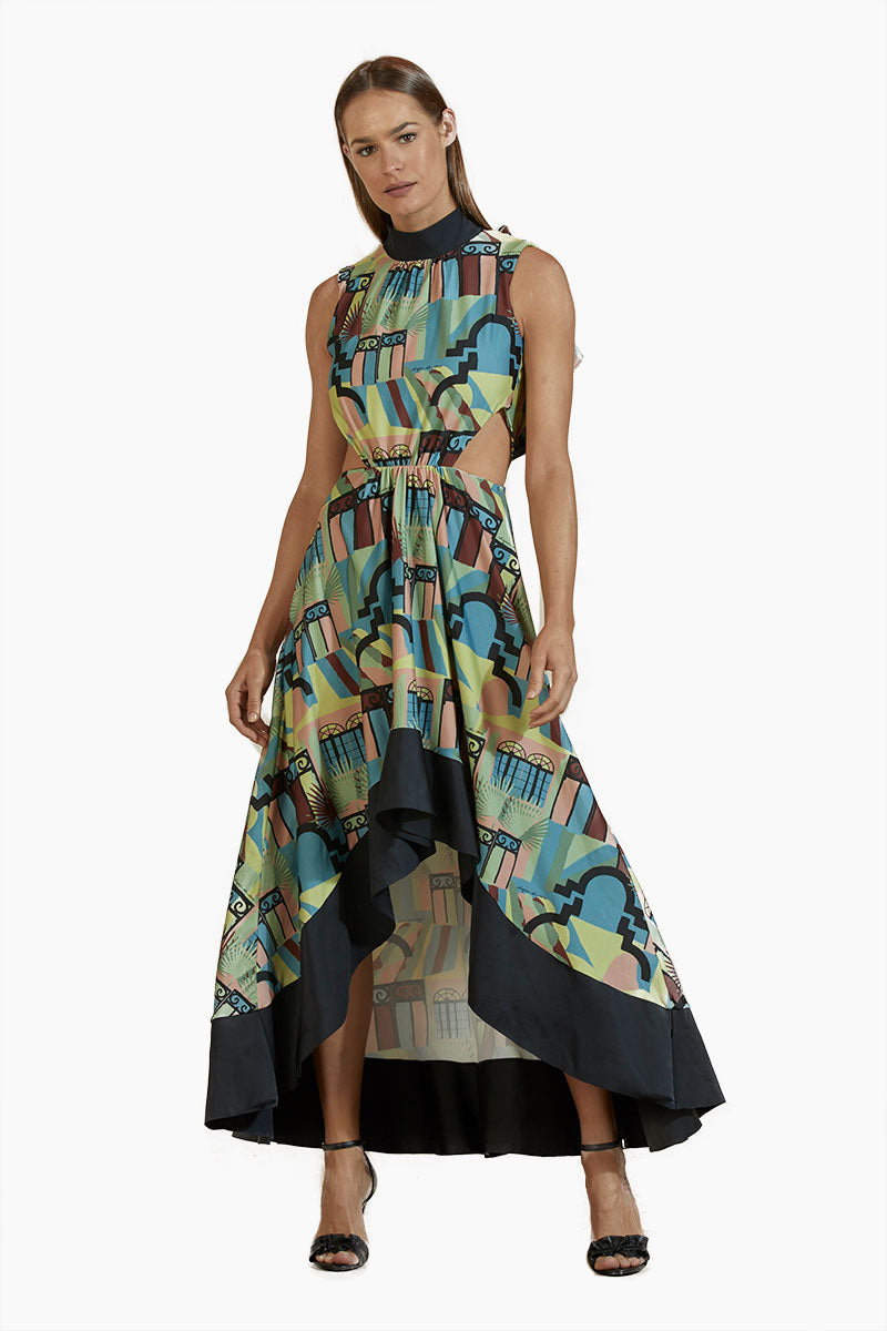 5ae52ad224 AGUA DE COCO High Neck Side Cut Out Dress - Neoclassical Abstract Print -  undefined undefined ...