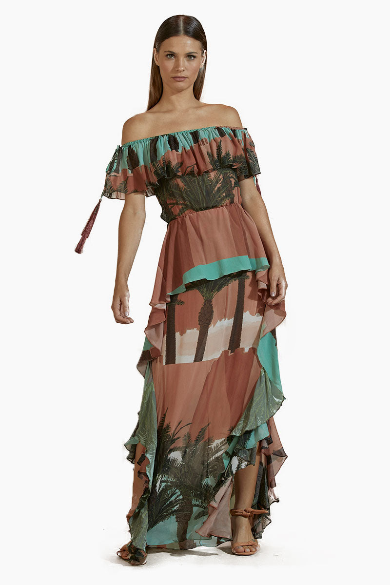 Crepe Off Shoulder Long Dress - Royal Mansour Print