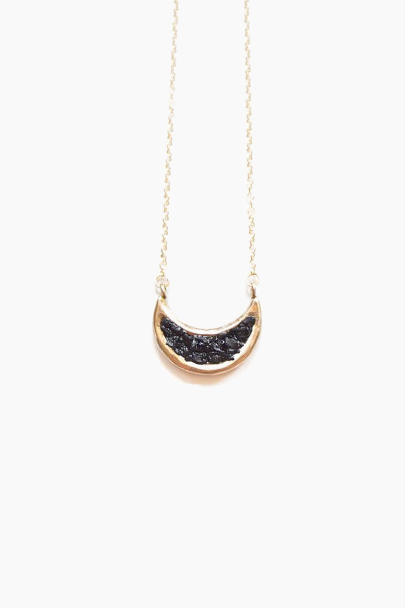 Eon Crescent Moon Pendant Necklace - Black Jet