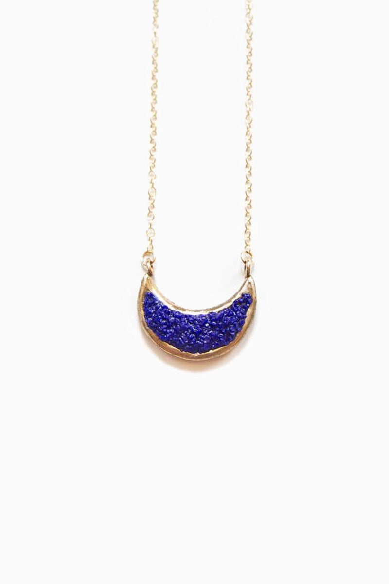 Eon Crescent Moon Pendant Necklace - Blue Lapis