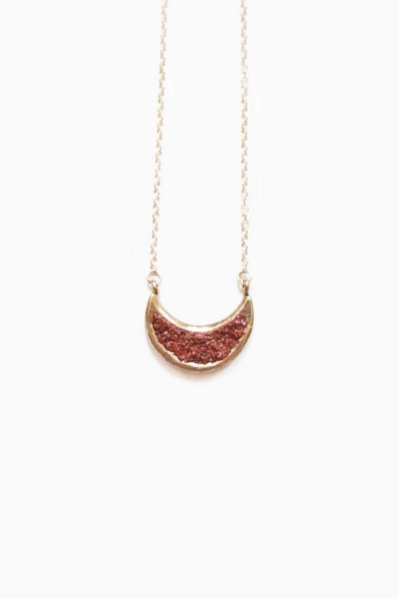 Eon Crescent Moon Pendant Necklace - Red Opal