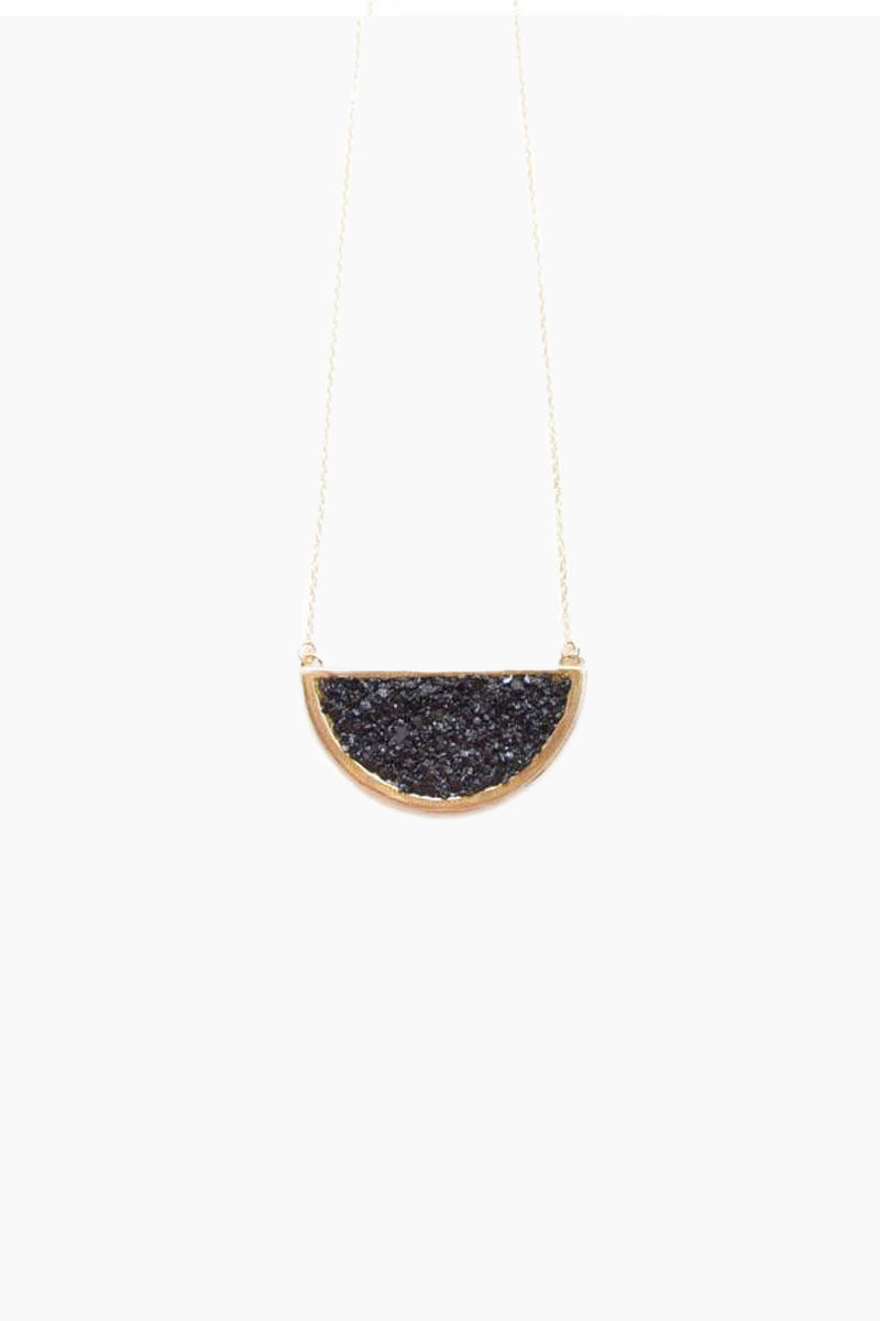 Epoch Crescent Half Moon Pendant Necklace - Black Jet