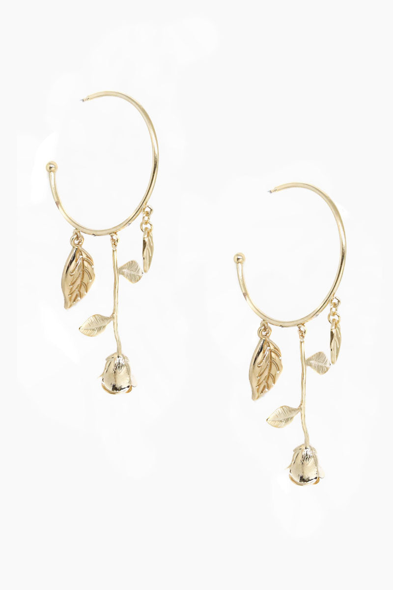 Fallen Rose Hoop Earrings - Gold