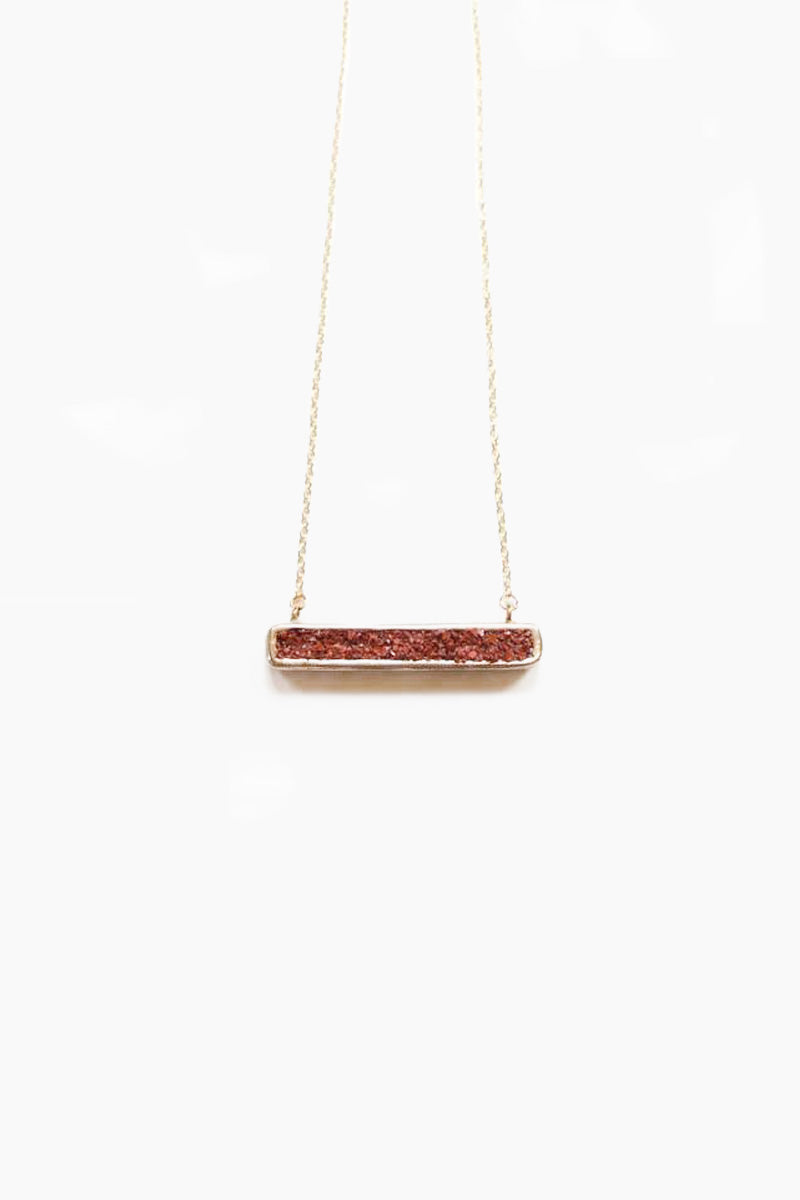Fissure Rectangle Pendant Necklace - Red Opal