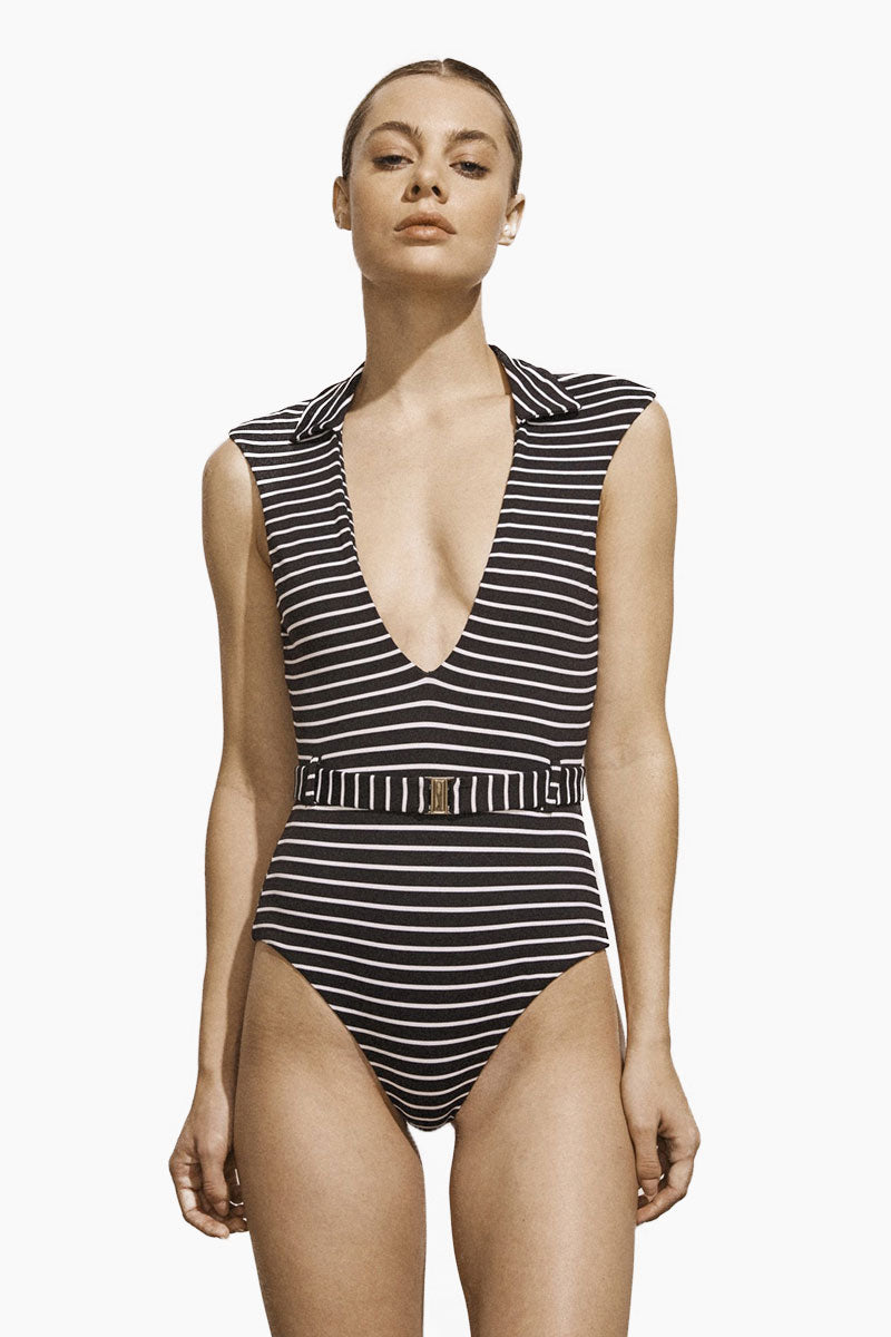 Franz Plunging One Piece Swimsuit - Stripe