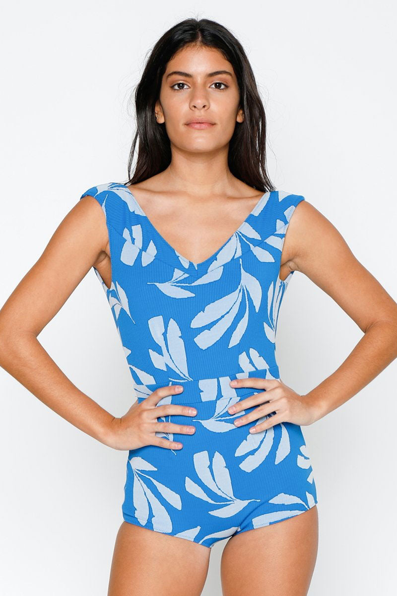 Tropical   Swimsuit   Piece   Print   Deep   Full   Back   Blue   One