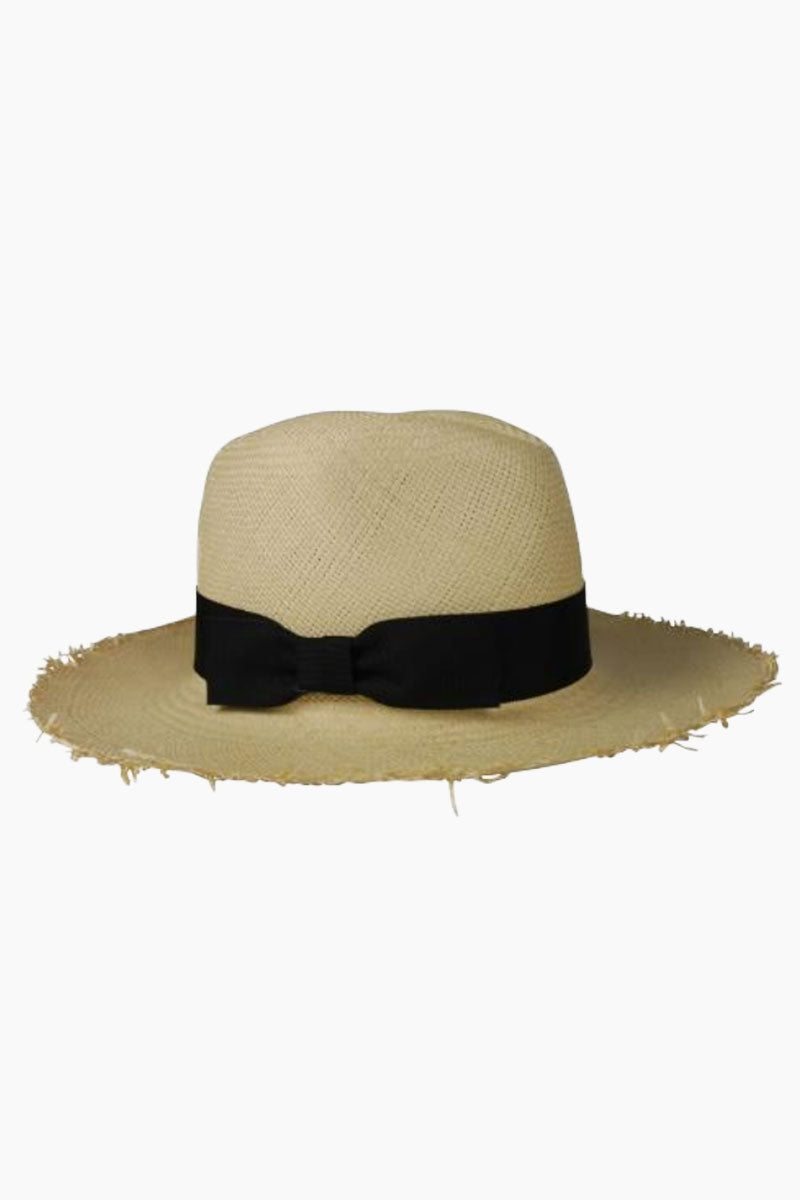 Fringed Continental Straw Sun Hat With Bow - Natural Brown & Black
