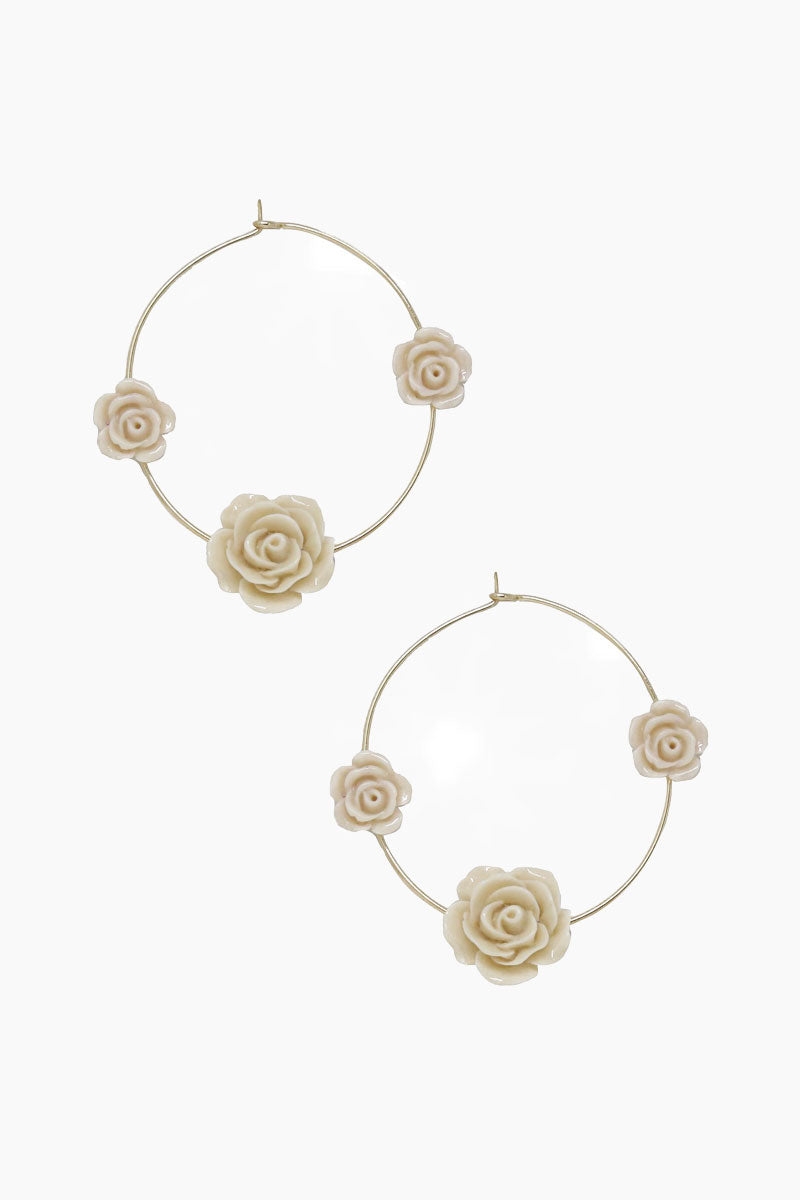 Garden Rose Hoops - Cream & Gold