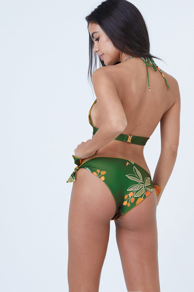 Gaviota Reversible Tie Side Bikini Bottom - Green Tropical Print/Mustard Yellow