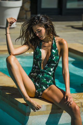 ADRIANA DEGREAS Ginkgo With Knot One Piece One Piece | Bonsai Green| Ginkgo With Knot One Piece