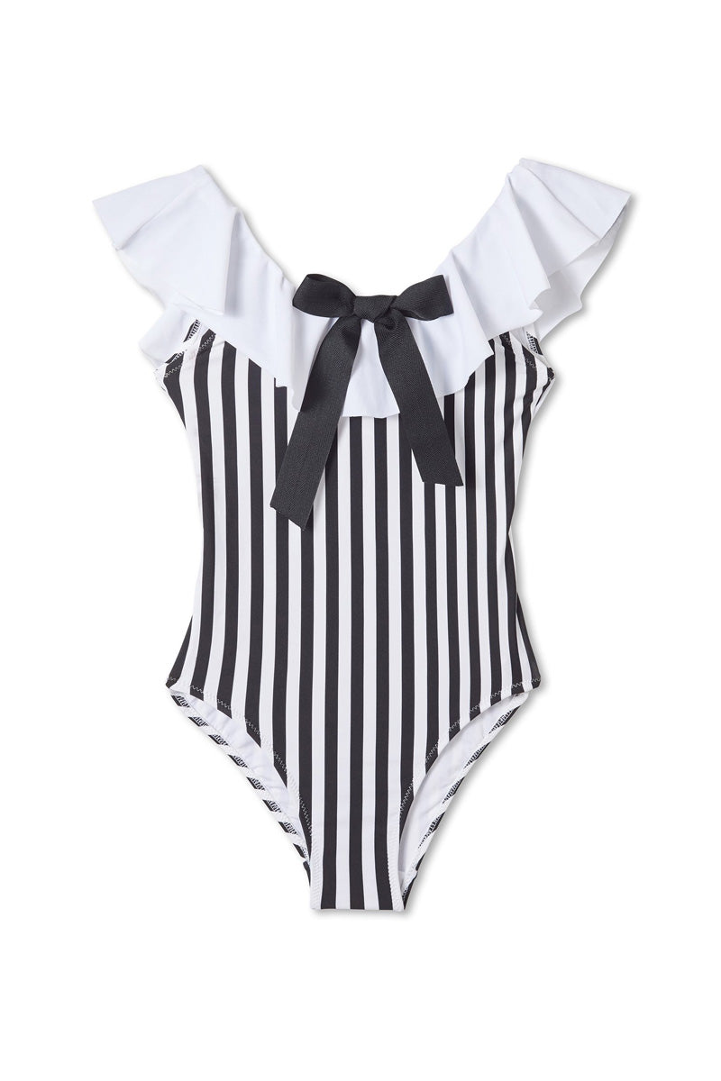 Black & White Striped One Piece Swimsuit (Kids)