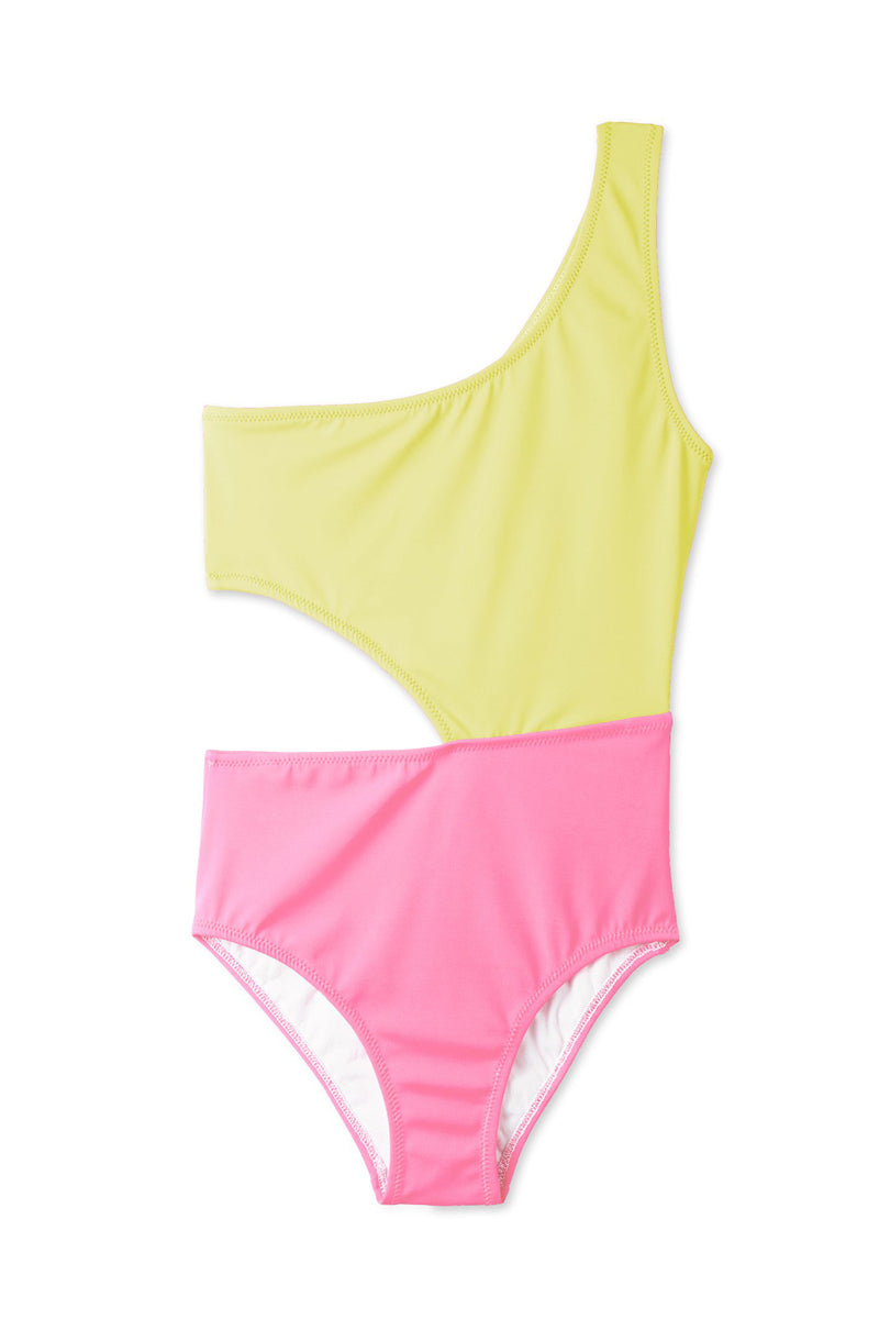 Yellow & Pink Side Cut Out One Piece Swimsuit (Kids)
