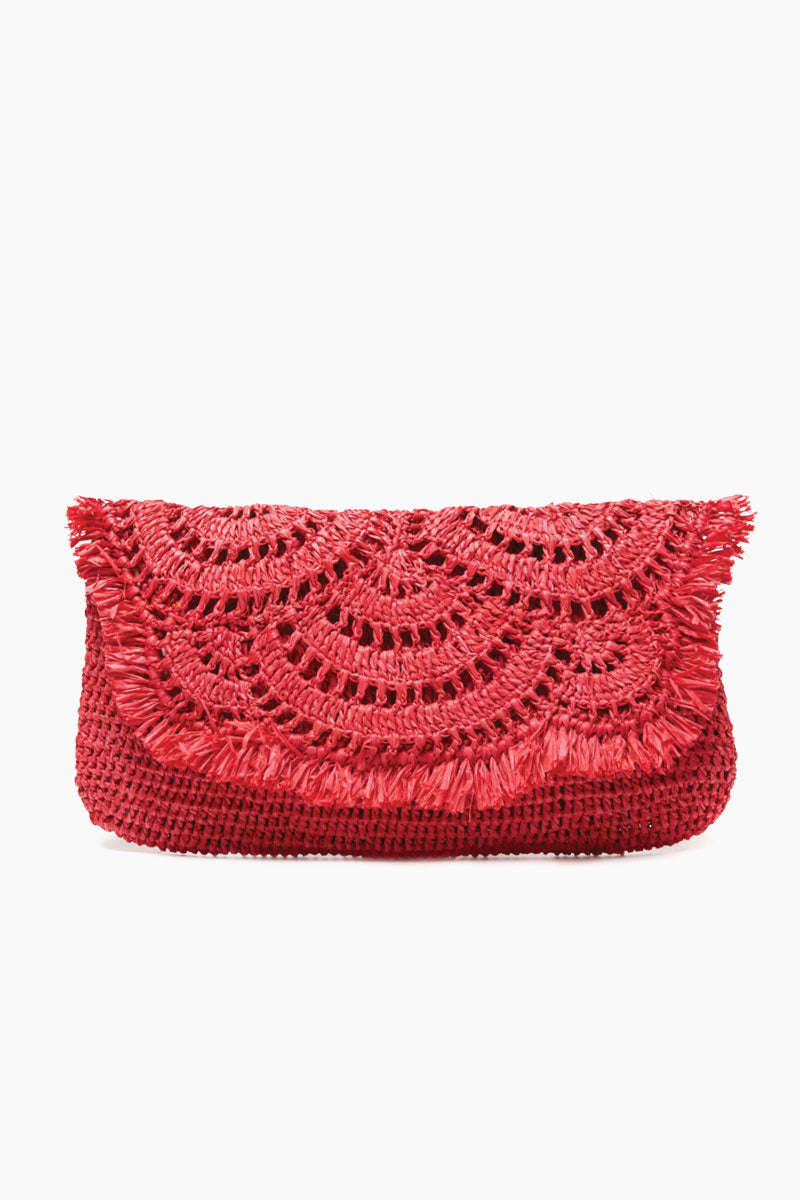 Gisele Crocheted Raffia Clutch With Cotton Lining & Snap Closure - Coral