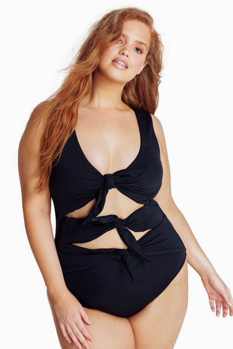 Goddess Knot One Piece Swimsuit (Curves) - Black